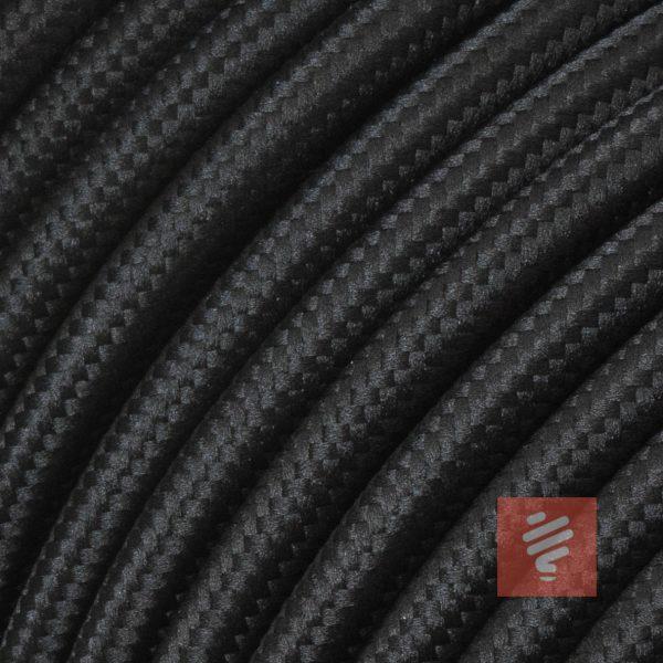 textilkabel stoffkabel schlauchleitung stoffummantelt textilummantelt pvc-kabel rundkabel h03vv-f 3g 0.75 3x0.75mm 3-adrig dreiadrig schwarz