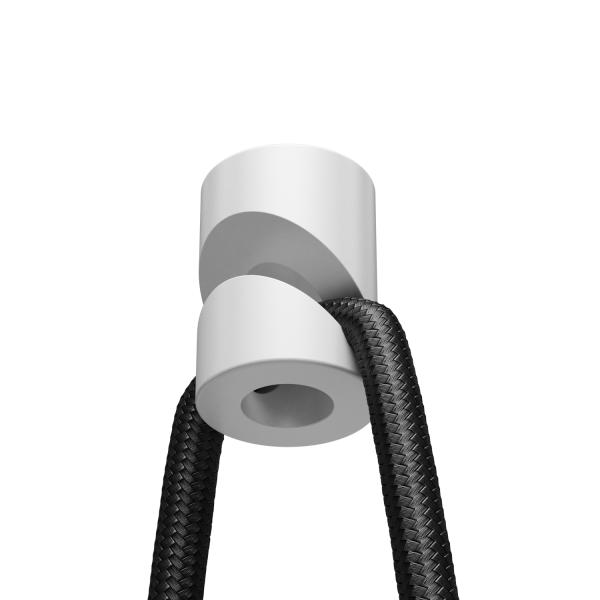 Aufputz-Kabelhalter für Textilkabel, Affenschaukel, Decken- und Wandpin, weiß