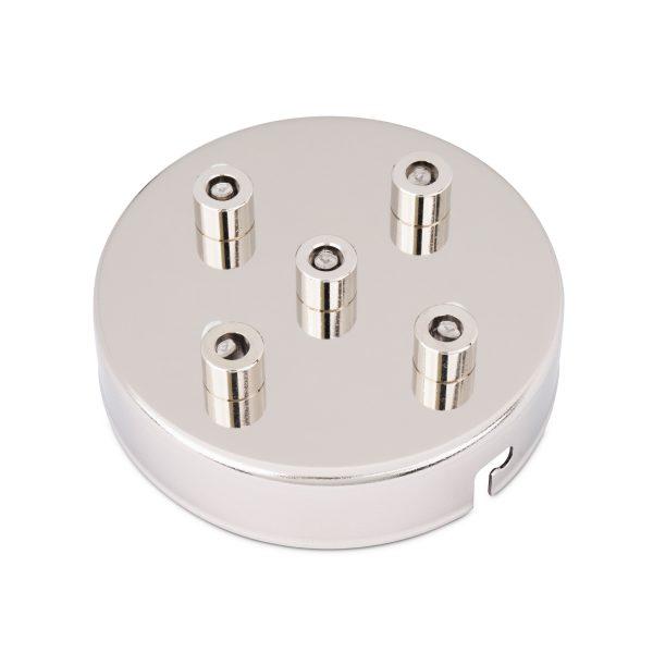 deckenbaldachin lampen baldachin eisen metall zugentlastung messing nickel 5-loch mehrere löcher auslässe bajonettverschluss