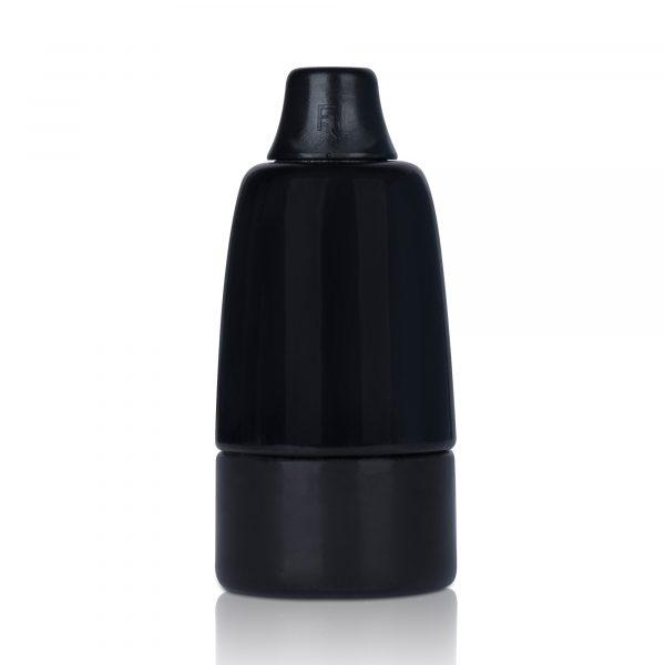 e14 fassung porzellan keramik zugentlastung schwarz glasiert