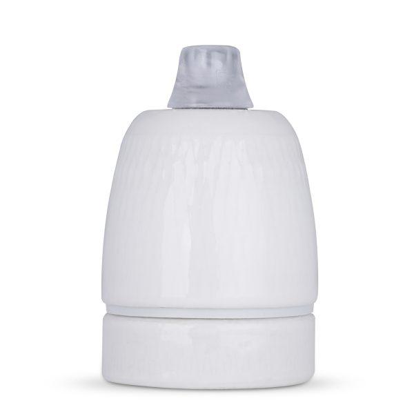 e27 fassung porzellan keramik zugentlastung transparent glasiert weiß m10 gewinde vossloh schwabe 535688