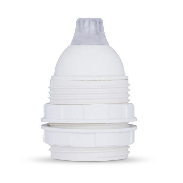 retro lampenfassung e27 thermoplast kunststoff weiß gewindemantel zugentlastung