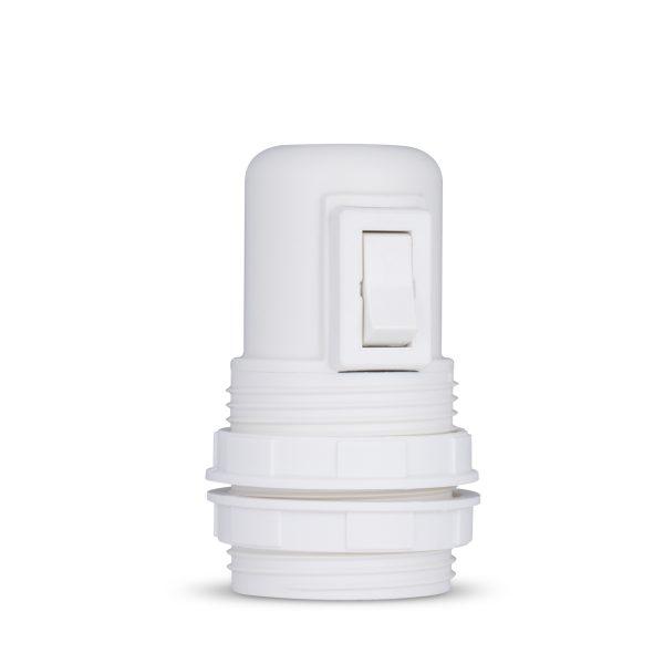 retro lampenfassung mit schalter e27 thermoplast kunststoff weiß gewindemantel