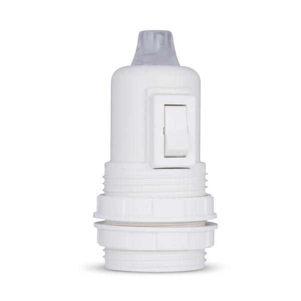 retro lampenfassung mit schalter e27 thermoplast kunststoff weiß gewindemantel zugentlastung