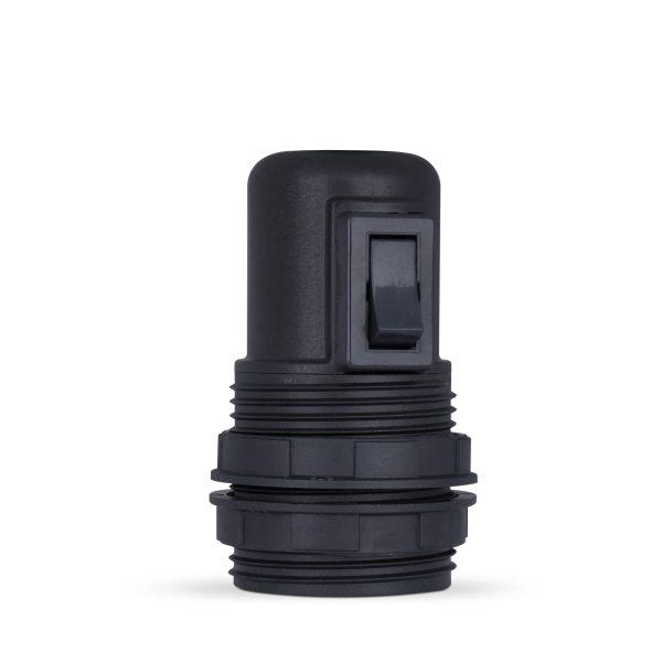 retro lampenfassung mit schalter e27 thermoplast kunststoff schwarz gewindemantel