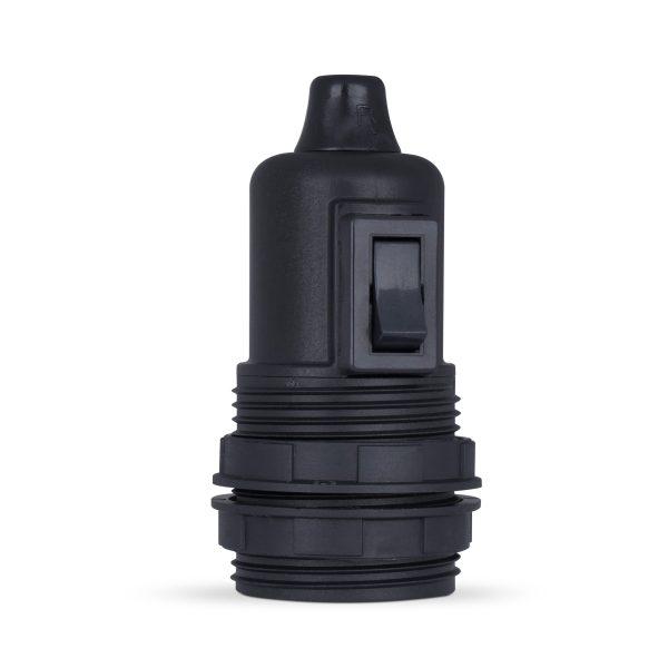 retro lampenfassung mit schalter e27 thermoplast kunststoff schwarz gewindemantel zugentlastung