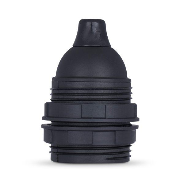 retro lampenfassung e27 thermoplast kunststoff schwarz gewindemantel zugentlastung