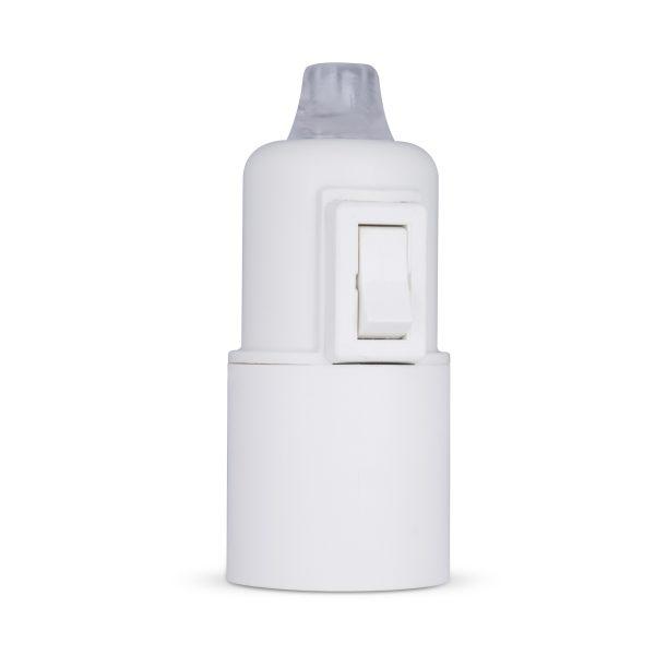 retro lampenfassung mit schalter e27 thermoplast kunststoff weiß glattmantel zugentlastung