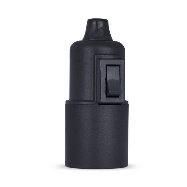 retro lampenfassung mit schalter e27 thermoplast kunststoff schwarz glattmantel zugentlastung