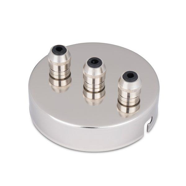 deckenbaldachin lampen baldachin eisen metall nickel zugentlastung messing nickel 3-loch mehrloch drei kabelauslässe bajonettverschluss