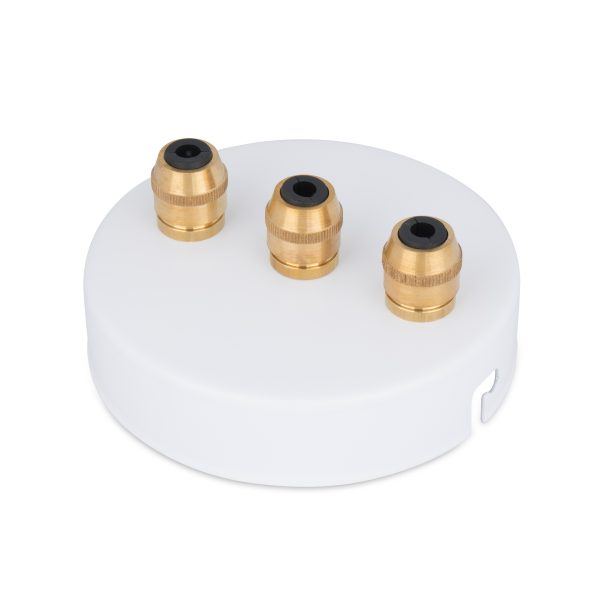 deckenbaldachin lampen baldachin eisen metall weiß pulverbeschichtet zugentlastung messing 3-loch mehrloch drei kabelauslässe bajonettverschluss