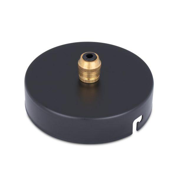 deckenbaldachin lampen baldachin eisen metall schwarz pulverbeschichtet zugentlastung messing zentraler auslass bajonettverschluss