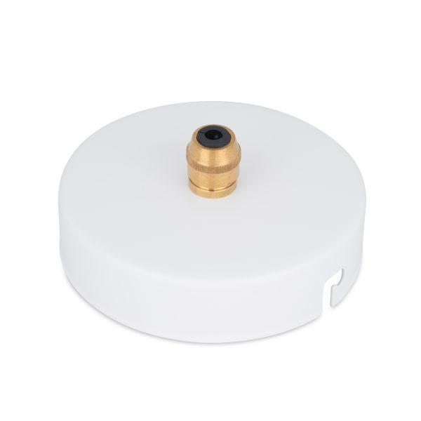 deckenbaldachin lampen baldachin eisen metall weiß pulverbeschichtet zugentlastung messing zentraler auslass bajonettverschluss