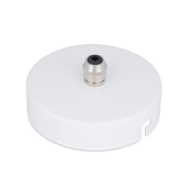 deckenbaldachin lampen baldachin eisen metall weiß pulverbeschichtet zugentlastung messing nickel zentraler auslass bajonettverschluss