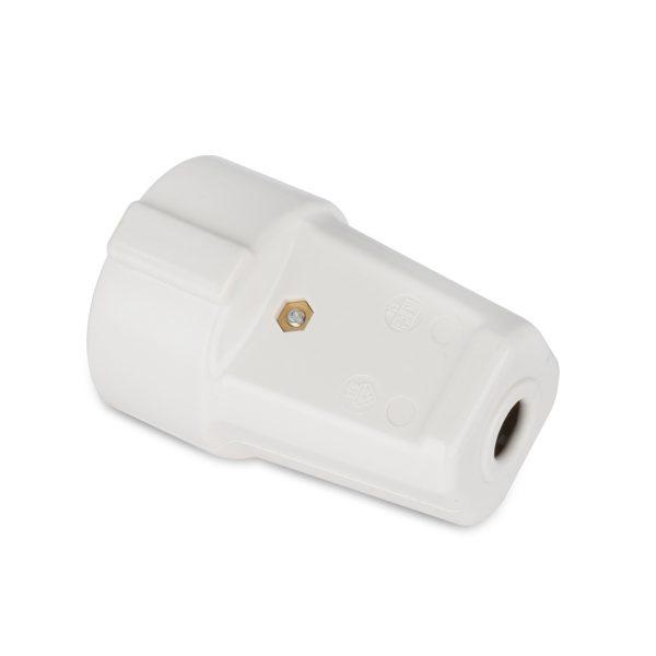 Schuko-Kupplung 2-polig+E 16A Thermoplast weiss 250V Schukokupplung