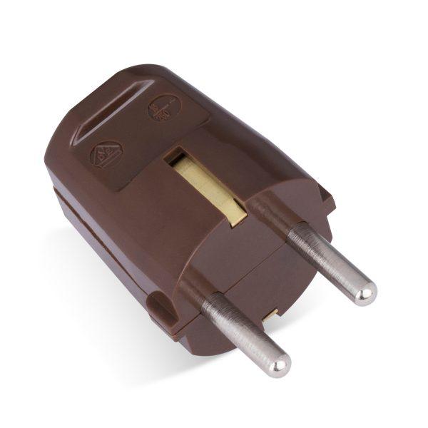 schutzkontakt stecker schuko-stecker bakelit duroplast wandstecker 16a braun