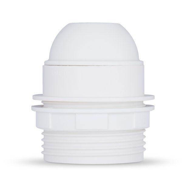 retro lampenfassung e27 thermoplast kunststoff weiß teilgewindemantel