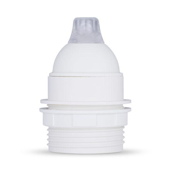 retro lampenfassung e27 thermoplast kunststoff weiß teilgewindemantel zugentlastung