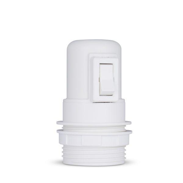 retro lampenfassung mit schalter e27 thermoplast kunststoff weiß teilgewindemantel