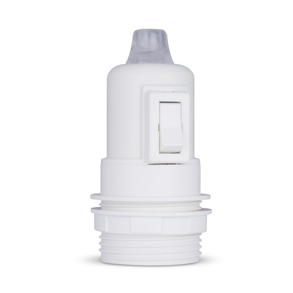 retro lampenfassung mit schalter e27 thermoplast kunststoff weiß teilgewindemantel zugentlastung