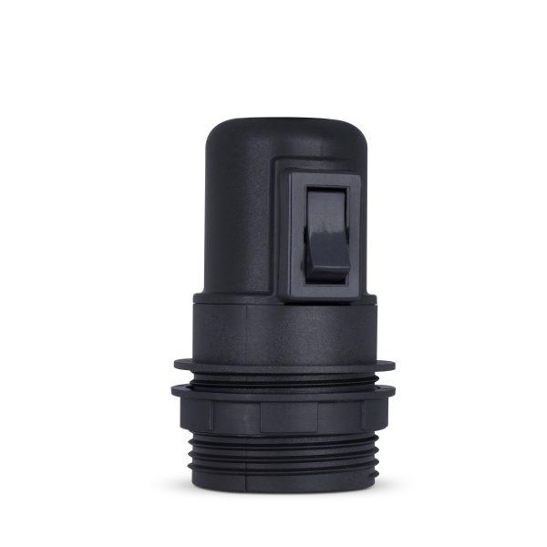 retro lampenfassung mit schalter e27 thermoplast kunststoff schwarz teilgewindemantel