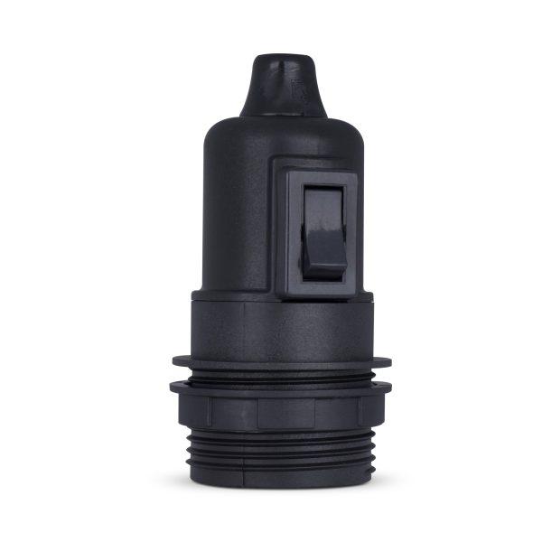 retro lampenfassung mit schalter e27 thermoplast kunststoff schwarz teilgewindemantel zugentlastung