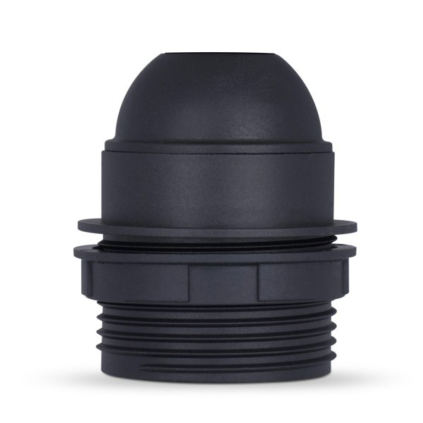 retro lampenfassung e27 thermoplast kunststoff schwarz teilgewindemantel