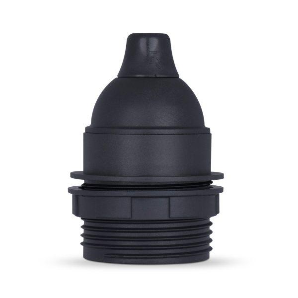 retro lampenfassung e27 thermoplast kunststoff schwarz teilgewindemantel zugentlastung