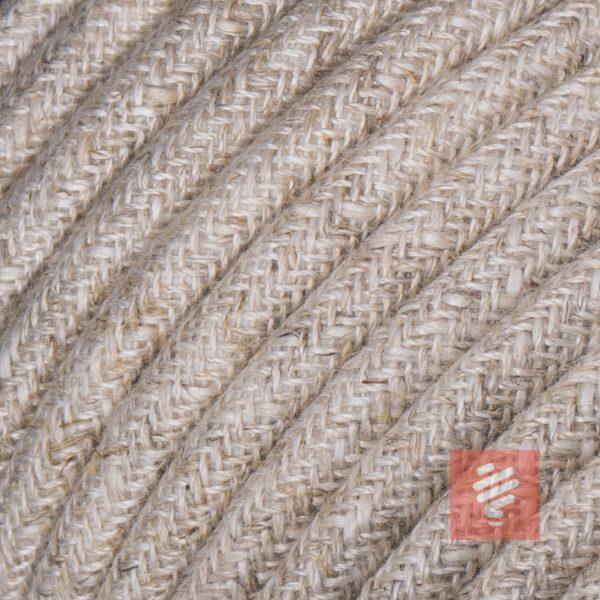 textilkabel stoffkabel schlauchleitung stoffummantelt textilummantelt pvc-kabel rundkabel h03vv-f 3g 0.75 3x0.75mm 3-adrig dreiadrig leinen braun