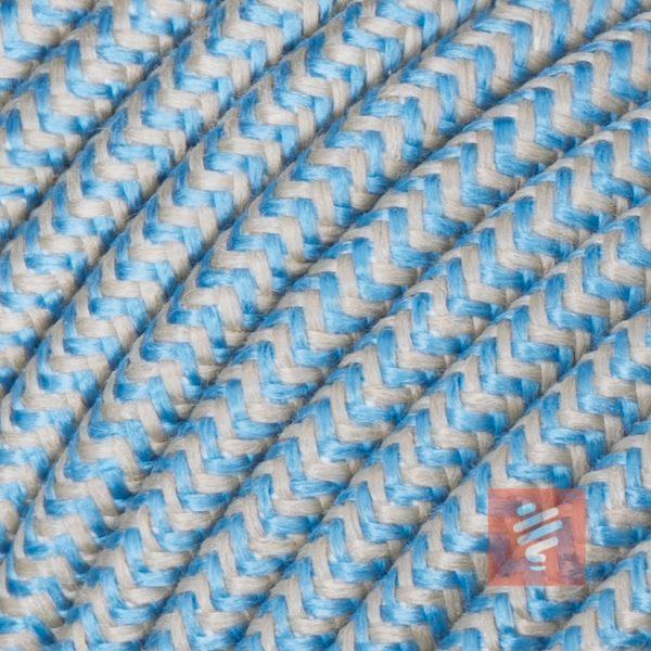 textilkabel stoffkabel schlauchleitung stoffummantelt textilummantelt pvc-kabel rundkabel h03vv-f 3g 0.75 3x0.75mm 3-adrig dreiadrig leine-blau braun