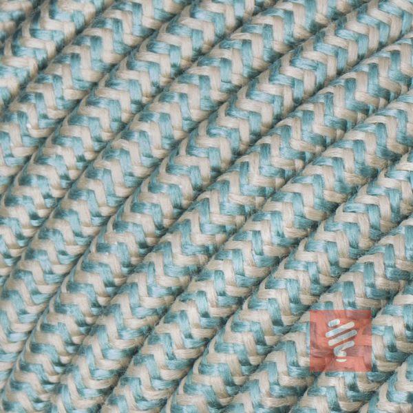 textilkabel stoffkabel schlauchleitung stoffummantelt textilummantelt pvc-kabel rundkabel h03vv-f 3g 0.75 3x0.75mm 3-adrig dreiadrig leinen-grün braun