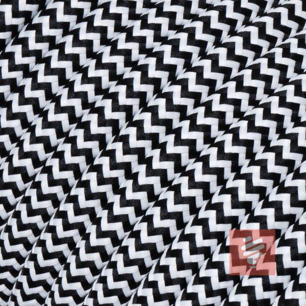 textilkabel stoffkabel schlauchleitung stoffummantelt textilummantelt pvc-kabel rundkabel h03vv-f 2G 0.75 2x0.75mm 2-adrig zweiadrig schwarz-weiß zick-zack
