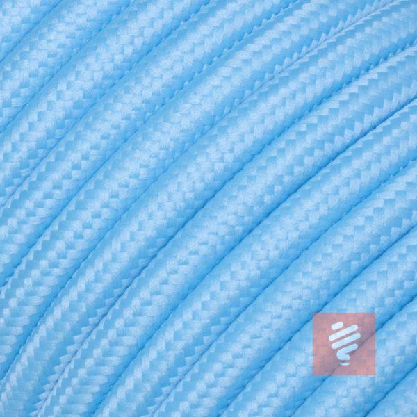 textilkabel stoffkabel schlauchleitung stoffummantelt textilummantelt pvc-kabel rundkabel h03vv-f 2G 0.75 2x0.75mm 2-adrig zweiadrig hellblau babyblau