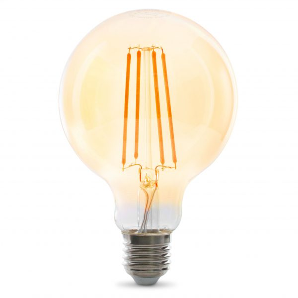 Dekorative E27 LED Filament Lampe, Gold Getönt, Lange Filamente, 3.5W 2100Kelvin, Extra Warm 320lm, Kolbenform G95