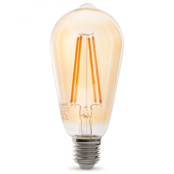 Dekorative E27 LED Filament Lampe, Gold Getönt, Lange Filamente, 3.5W 2100Kelvin, Extra Warm 320lm, Kolbenform ST64