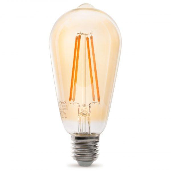 Dekorative E27 LED Filament Lampe, Gold Getönt, Lange Filamente, 3.5W 2100Kelvin, Extra Warm 320lm, Kolbenform ST64 | Dimmbar