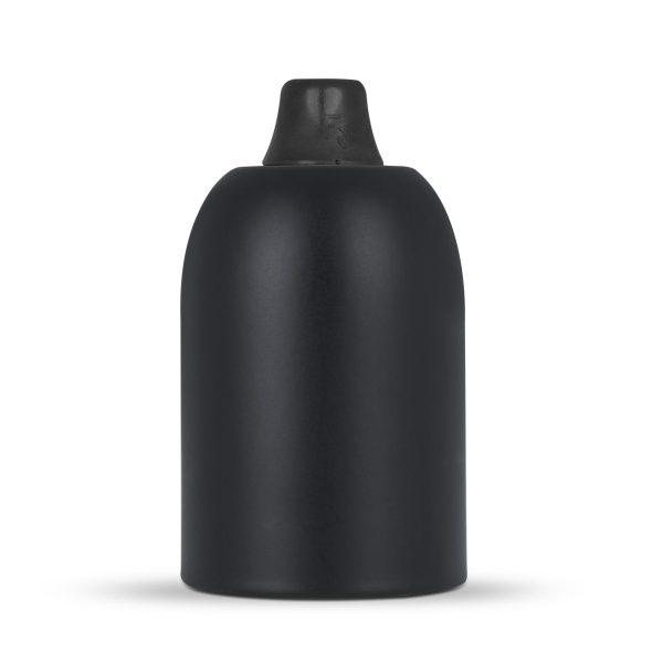 Fassungshülse aus Metall inkl. Lampenfassung E27 | Schwarz, inkl. Zugentlastung Kunststoff