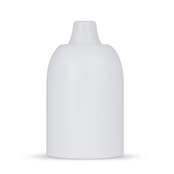 Fassungshülse aus Metall inkl. Lampenfassung E27 | Weiß, inkl. Zugentlastung Kunststoff