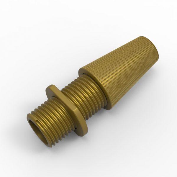 Klemmnippel für Textilkabel, Zugentlastung, M10 Gewinde, gold