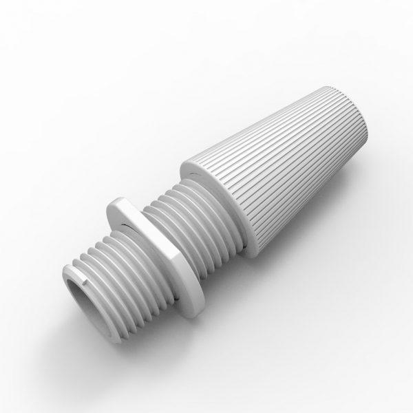 Klemmnippel für Textilkabel, Zugentlastung, M10 Gewinde, weiß