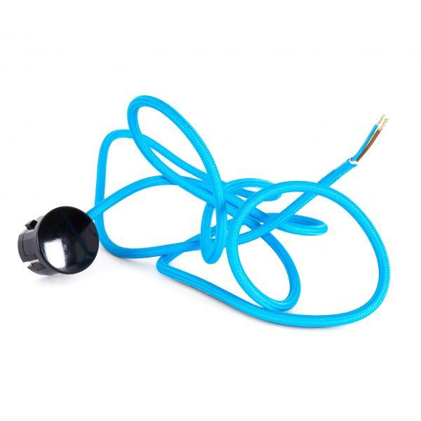 Textilkabel Zuleitung mit Stecker | Schuko Winkelstecker aus Duroplast (Bakelit Optik) | H03VV-F 3×0.75mm² 3-adrig | Blau