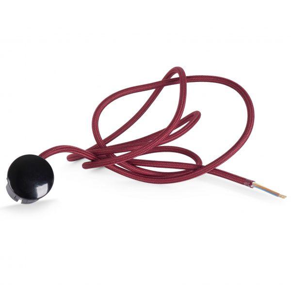 Textilkabel Zuleitung mit Stecker | Schuko Winkelstecker aus Duroplast (Bakelit Optik) | H03VV-F 3×0.75mm² 3-adrig | Bordeaux-Rot