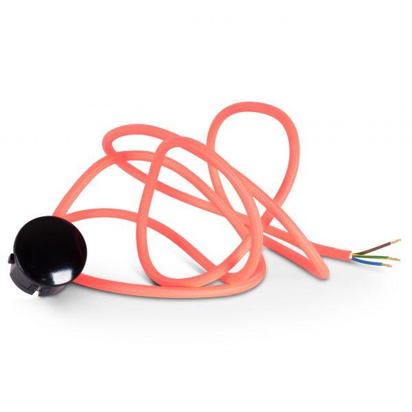 Textilkabel Zuleitung mit Stecker | Schuko Winkelstecker aus Duroplast (Bakelit Optik) | H03VV-F 3x0.75mm² 3-adrig | Fuchsia Pink