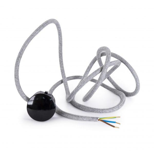 Textilkabel Zuleitung mit Stecker | Schuko Winkelstecker aus Duroplast (Bakelit Optik) | H03VV-F 3×0.75mm² 3-adrig | Hellgrau