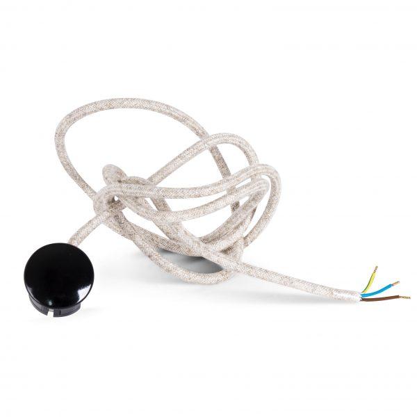 Textilkabel Zuleitung mit Stecker | Schuko Winkelstecker aus Duroplast (Bakelit Optik) | H03VV-F 3x0.75mm² 3-adrig | Leinen