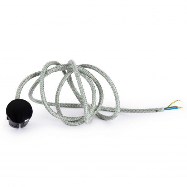 Textilkabel Zuleitung mit Stecker | Schuko Winkelstecker aus Duroplast (Bakelit Optik) | H03VV-F 3×0.75mm² 3-adrig | Leinen-Grün