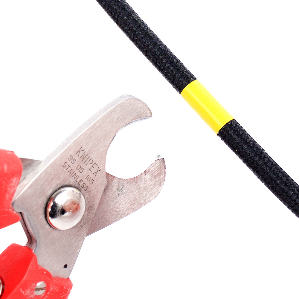 textilkabel schneiden kürzen bearbeiten textilummantelt textilummantelung kabelschere kabelzange