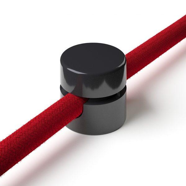 Zweiteilige Affenschaukel für Textilkabel, Aufputz-Kabelhalter für Lampe, Schwarz
