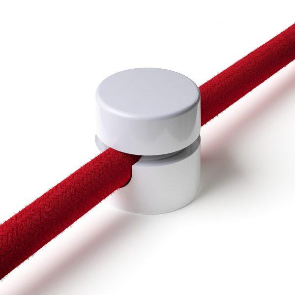 Zweiteilige Affenschaukel für Textilkabel, Aufputz-Kabelhalter für Lampe, Weiß