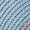 Textilkabel Pendellampe Leinen-Blau, Textilkabel mit Lampenfassung aus Thermoplast und Eurostecker